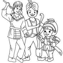 Desenho de fantasias de NINJA, FAQUIR e CAVALEIRO para colorir