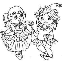 Desenho para colorir meninas fantasias no CARNAVAL