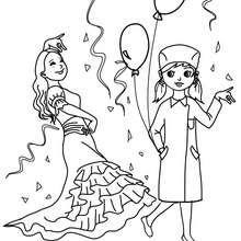 Desenho para colorir fantasias de PRINCESA E ENFERMEIRA