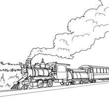 Desenho para colorir de um trem a vapor com uma bela paisagem