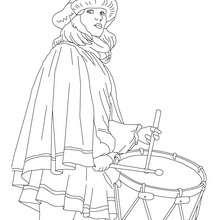 Desenho de um traje de musicista veneziano para colorir