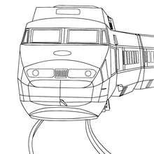Desenho de um trem de alta velocidade de frente para colorir