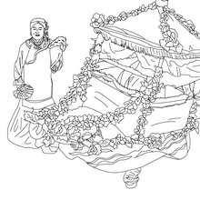 Desenho de uma carruagem de flores no desfile chinês para colorir