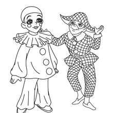Desenho do PIERROT e do HARLEQUIM para colorir