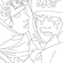 Desenho de um casal no carnaval de Veneza para colorir