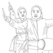 Desenho de músicos no desfile do ano novo Chinês para colorir online