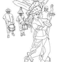Desenho do desfile das escolas de samba no Rio para colorir