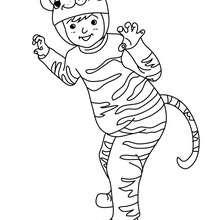 Desenho de uma fantasia de TIGRE para colorir
