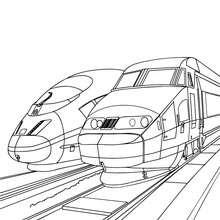 Desenho de trens de alta velocidade estacionados na estação de trem para colorir