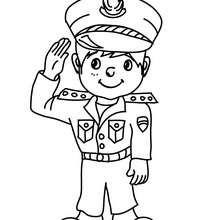 Desenho para colorir de uma fantasia para o CARNAVAL de POLICIAL