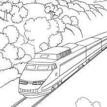 Desenho de um trem de alta velocidade na natureza para colorir