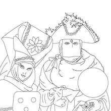 Desenho da famosa fantasia veneziana do carnaval para colorir