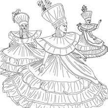 Desenho para colorir das Bahianas desfilando para uma escola de sambra
