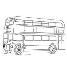 Desenho de um ônibus de dois andares para colorir