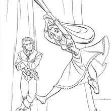 Desenho da RAPUNZEL com o FLYNN RIDER para colorir