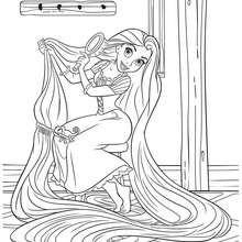 Desenho da RAPUNZEL COM SEUS LONGOS CABELOS  para colorir