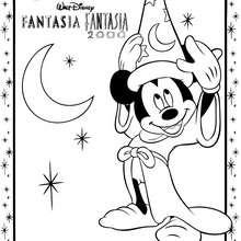 Desenho de Fantasia com o MICKEY de CHAPÉU para colorir