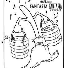 Desenho de Fantasia com a VASSOURA MÁGICA para colorir