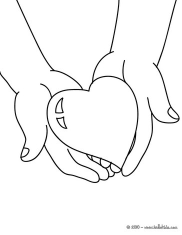 Desenho de um coração nas mãos de uma criança para colorir