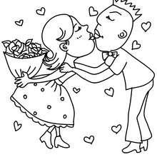 Desenho de um casal apaixonado para colorir