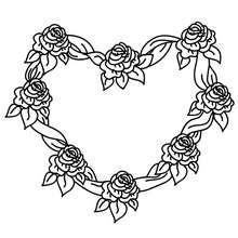 Desenho de um Coração Rosa para colorir