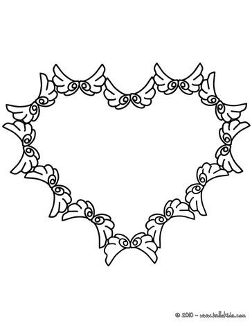 Desenho de um coração com asas para colorir