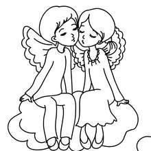 Desenho de um casal de anjos para colorir