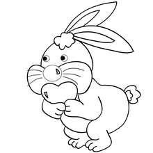 Desenho de um coelho com um coração  para colorir