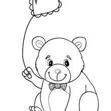 Desenho de um menino ursinho de pelúcia com um balão para colorir