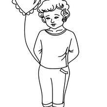 Desenho de um menino com um balão para colorir