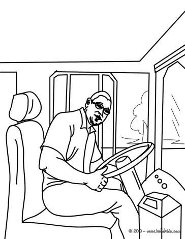 Desenho para colorir de um motorista de ônibus