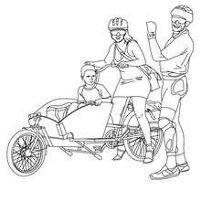 Desenho de uma família andando de bicicleta para colorir