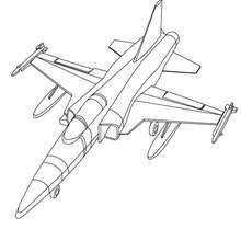 Desenho para colorir de um  Avião de Combate
