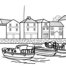 Desenho para colorir de um porto com barcos
