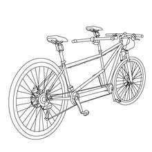 Desenho para colorir de uma bicicleta tandem