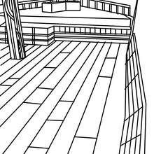 Desenho de um barco de pesca para colorir