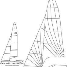 barco, Desenho de uma regata  para colorir