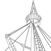 barco, Desenho para colorir do mastro de um veleiro