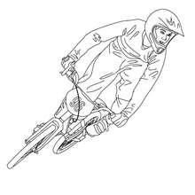 Desenho de uma corrida de bicicleta em pistas de terra para colorir