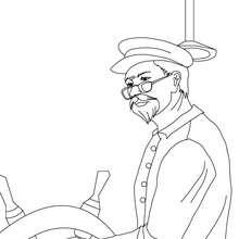Desenho para colorir de um capitão dirigindo o barco com o leme