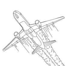 Desenho para colorir de um  Avião decolando