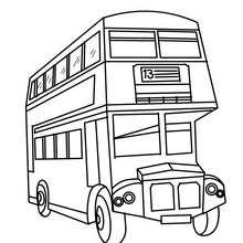Desenho de um ônibus de dois andares inglês para colorir