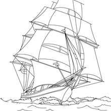 Desenho para colorir de um barco do século 17
