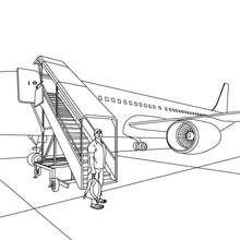 Desenho para colorir de um  Avião comercial