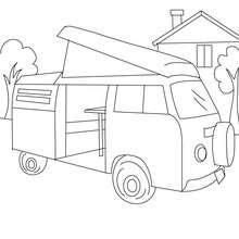 Desenho de uma Kombi de acampadores para colorir