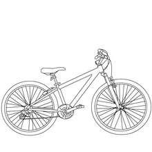 Desenho de uma bicicleta de mountain bike para colorir