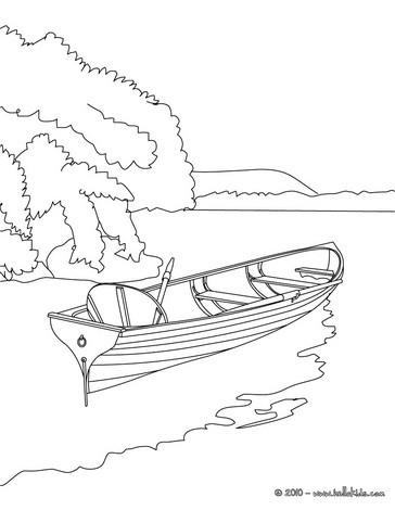 Desenho para colorir de um barco a remo no lago