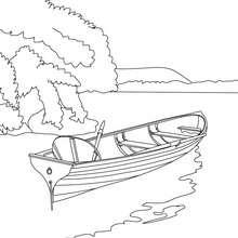 amor, Desenho para colorir de um barco a remo no lago