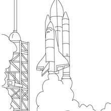 astronave, Desenho de um Ônibus espacial pronto para decolar para colorir