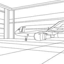 Decoração de um avião na garagem para colorir